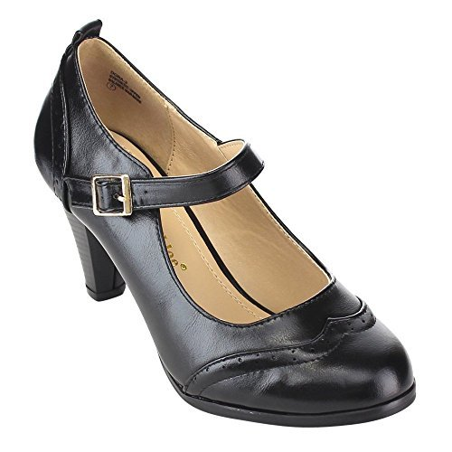 Chase & Chloe Dora-2 Women's Round Toe Two Tone Mary Jane Pumps,Black/Black (6) by Chase & Chloe