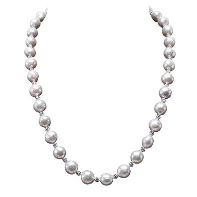jyx Blanco Barroco Collar de Perlas cultivadas con circonitas Checa: Amazon.es: Joyería