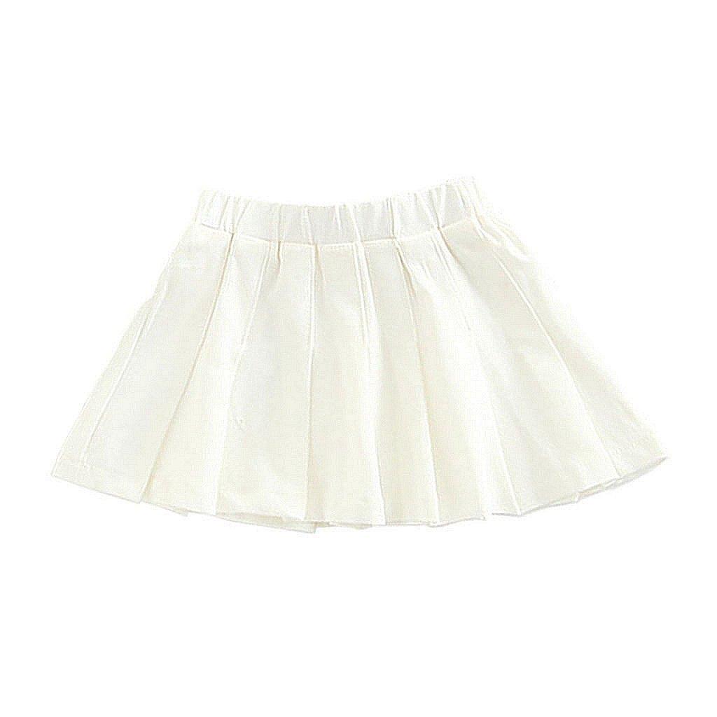 Wheat4u Baby Girls Tennis Skirt Toddler Kids Outfits White Skirt 5T/6T