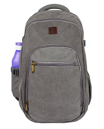Rustic Town Canvas backpack book laptop bags rucksack for student kids men women (Gray) by RusticTown (Image #1)