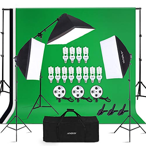 - Andoer Lighting Kit-Softbox Photography Kit with Background Support System, 3pcs 6.6 x 9.8ft Backdrop(Black/White/Green) for Studio Photography and Video Lighting