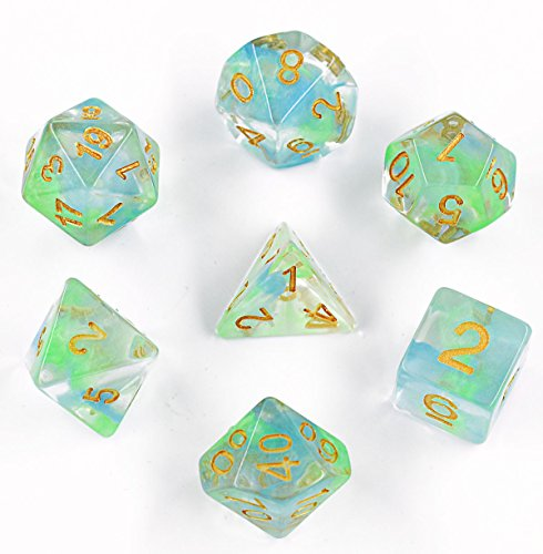 Polyhedral Gaming Dice Complete Sets of 7-Die Dice - D4 D6 D8 D10 D12 D20 & Percentile Dice - Great for Tabletop, Roleyplaying & DnD Games, Math & MTG (Blue/Green) ()