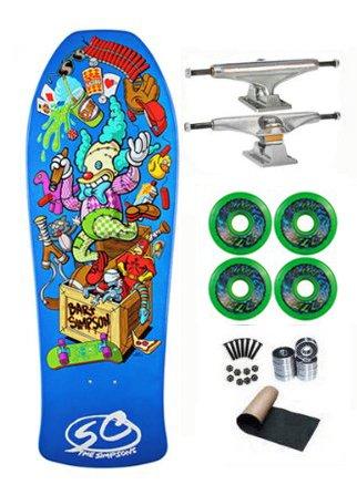 Santa Cruz Simpsons Bart Toybox Old School Skateboard Deck Complete