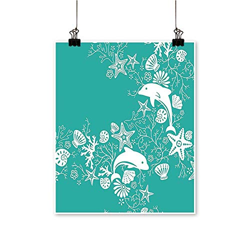 Modern Painting Animals Dolphins and Flowers Sea Floral Pattern Starfish Coral Seashell Wallpaper Pa Bedroom Office Wall Art Home,24