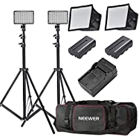 Neewer 2 Pieces 176 LED Dimmable on Camera Light and Stand Kit for Photo Video Shooting,YouTube,Snapchat Includes:(2)LED Light,(2)6 feet Light Stand,(2)Diffuser,(2)Battery,(1)Charger and (1)Carry Case