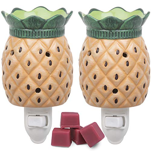 Deco Plug-in Fragrance Wax Melt Warmer, Set of 2 Includes 4 Wax Cubes (5x3) - Pineapple ()