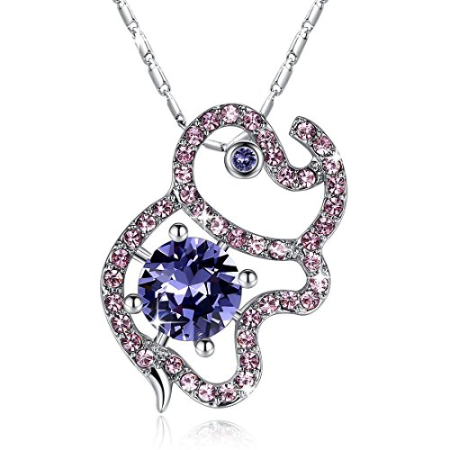 Swarovski Crystal Elephant - Gemmance Lucky Elephant Necklace Purple Pendant Gifts for Women Birthstone Jewelry Made with Swarovski Crystals Silver Tone Gifts for Mothers Wife Daughter Birthday,18
