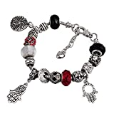 RUBYCA Friendship Charm Bracelet European Style with Rolo Chain Toggle Clasp BFF Charms Silver Tone