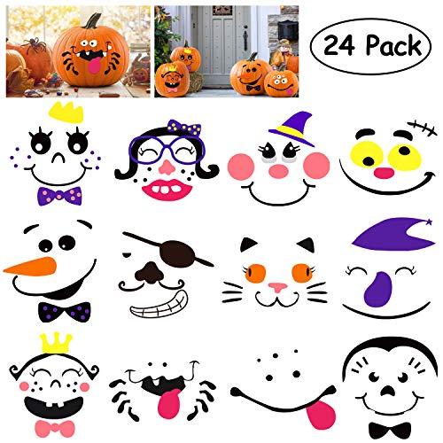 SHEOO 24 Sets Foam Pumpkin Decorations Craft Kit for Halloween - Jack-o-Lantern Stickers Kit - Perfect for Halloween Decorations Cute Halloween Decor Idea