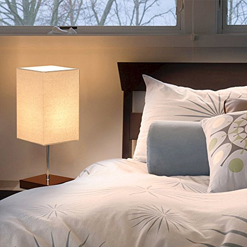 Tomshine Bedside Table Lamp Small Nightstand Lamps for Bedrooms Minimalist Solid Wood Desk Light with Square Fabric Shade for Living Room Coffee Dresser Table by Tomshine (Image #2)