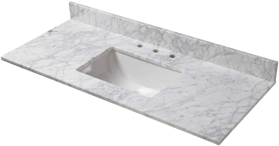 Cahaba Cavt0169 49 X 22 Carrara Marble Vanity Top With Trough Bowl And 8 Faucet Spread Amazon Com