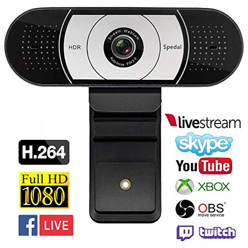 Spedal Streaming 1080P Webcam, Gaming Live USB Camera Compatible with Xbox One OBS Mixer Xsplit, HDR and Autofocus Tech with Dual Noise Reduction Mics Laptop Computer Camera for Youtube Skype Facetime