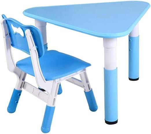 Kids Table Chair Sets Juego de Mesa y Silla de Estudio para niños, Mesa Triangular de Madera para Juegos de jardín de Infantes, Silla de Respaldo de plástico: Amazon.es: Hogar