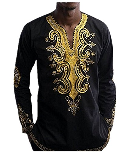 Men's African Print Dashiki T-Shirt Tops,Sunward Black Long Sleeve Longline Autumn Blouse (Black, (Male Power Sheer Bikini)