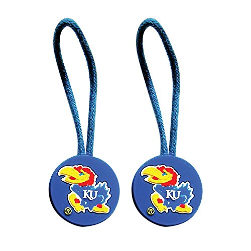 aminco Kansas Jayhawks Zipper Pull Charm Tag Set Luggage Pet ID NCAA ()