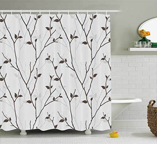 Ambesonne Leaves Decor Collection, Branches in the Fall Trees Stem Twig with Last Few Leaves Minimalistic Design Art, Polyester Fabric Bathroom Shower Curtain Set with Hooks, Brown Gray