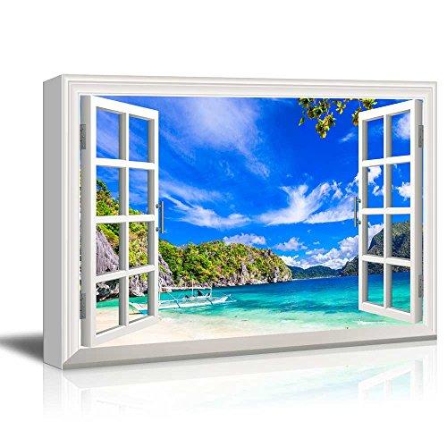Creative Window View Panorama Beautiful Beach in El Nido Palawan Philippines