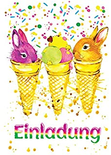 8 Einladungskarten Kindergeburtstag Mädchen Jungen Tiere Jungs  Geburtstagseinladungen Einladungen Geburtstags Party Kartenset Kaninchen