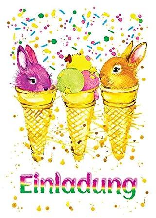 12 Einladungskarten Kaninchen zum Kindergeburtstag Tiere