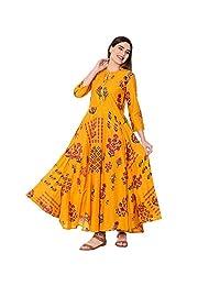 DREAMANGEL FASHION Womens Cotton Printed Collar Neck Anarkali Kurta