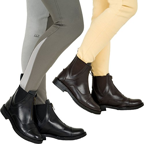 Joy Rider Synthetic Jodhpur Boots - Leather Paddock Horse Ride Jodhpur Front Zip Brown mckYfjYM