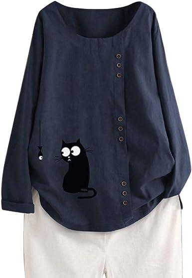 LOPILY Camisa de Lino de algodón de Manga Larga para Mujer Camisa Holgada con Estampado de Gato y Pescado Lindo Blusa con Botones Túnica Suelta Blusas ...