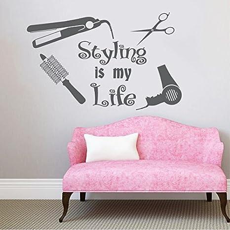 Estilo calcomanías de pared es mi vida secador de corte de pelo tijeras estilo Fashion maquillaje