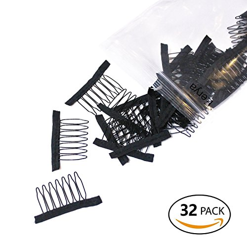 Beauty : 32 Pcs 1 bag Wig Combs Convenient For Your Wig Caps Making Hair Weaving Hair Weave Wigs Cap Tool Black Color