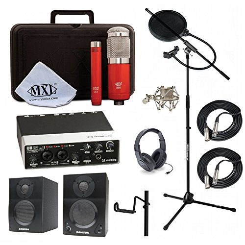 Home Recording Studio Bundle MXL 550/551R SR350 Stand Steinberg UR22MKII Samson Media ONE BT3 Speakers