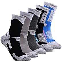 YUEDGE Men's 5 Pairs Wicking Cushion Outdoor Multi Performance Hiking Socks