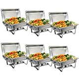 ZenChef 8 Qt Stainless Steel Chafer, Full Size Chafer, Chafing Dish w/ Water Pan, Food Pan, Alcohol Furnace and Lid (Pack of 6)