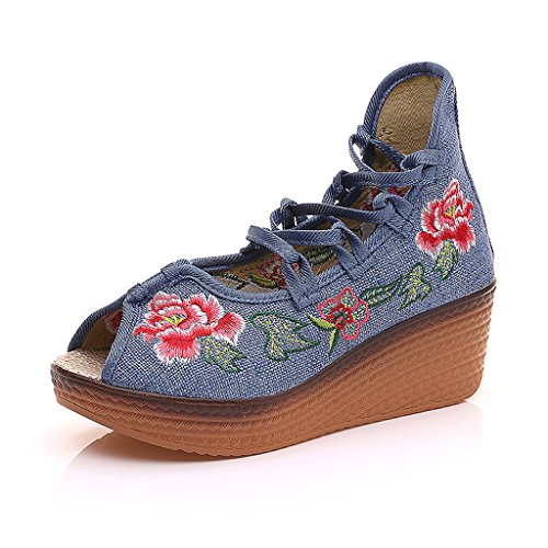 Women's embroidered shoes fall national style medium heels breathable leisure shoes sandals ( Color : Blue , Size : US:7\UK:6\EUR:39 )