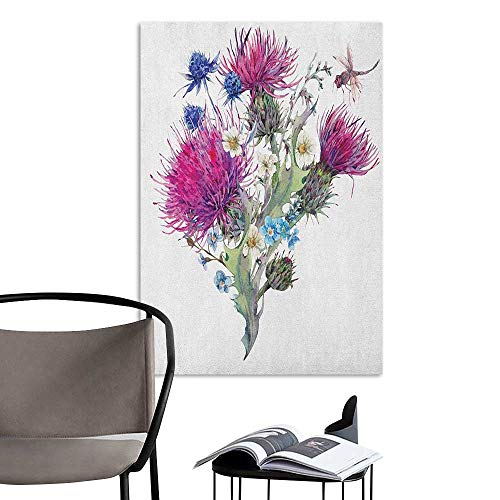 Scenery Wall Sticker Dragonfly Summer Natural Meadow Herbs Bouquet Wild Thistles Chamomiles Watercolor Boho Art Multicolor Removable Kitchen W20 x H28 - Natural Frame Coco Stick