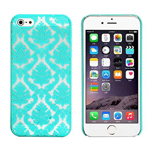 Iphone 5s Case, Shensee Vintage Carved Damask Pattern Matte Hard Plastic Clear Case Silicone Skin Cover for Iphone 5 5s (Blue) (Banana Silicone Iphone 5s Case)