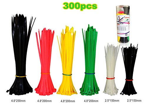 300pc-nylon-cable-ties-6inch-8inch-10inch-self-locking-zip-ties-colored-assorted-heavy-duty-wire-tie