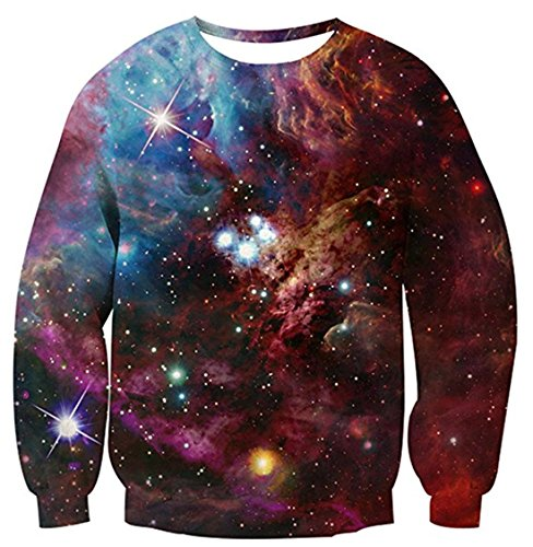 Union Link Collage 3D Printed Space Galaxy Star Shirt Graphics Crew-Neck Sweatshirt (Printed Union)