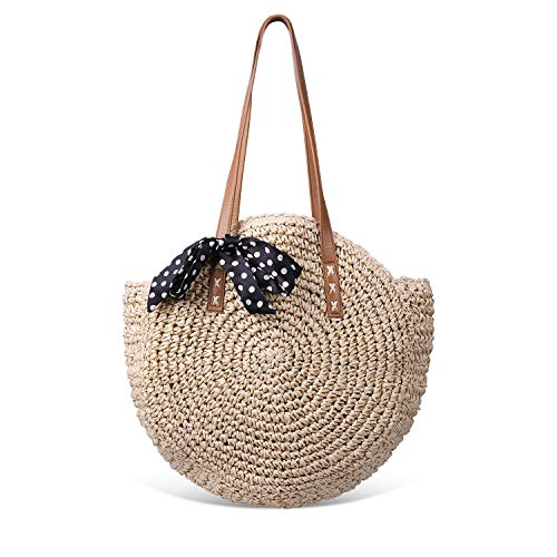 (Round Summer Straw Large Woven Shoulder Bag Sholov Wallet Ladies Professional Handbag )