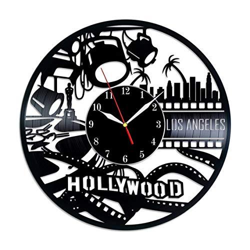 Hollywood Ornament Vinyl Record Wall Clock - Original HANDMADE Gift -