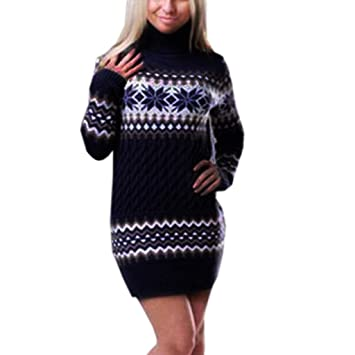 c1404919671 OHQ Robe Pull Femme Hiver en Maille Grande Taille Longue Noel Sexy Col  Roule Rouge Vintage