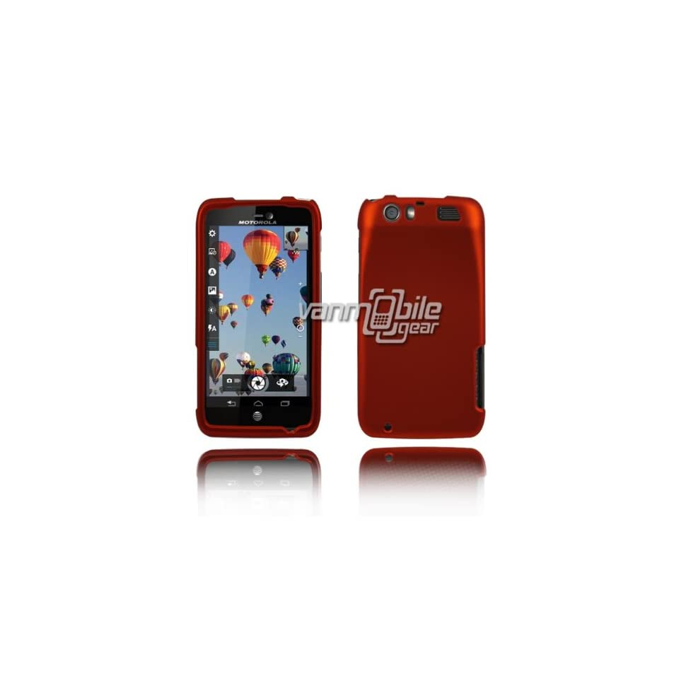 VMG 2 ITEM COMBO For Motorola Atrix HD Hard Case Cover   ORANGE Hard Matte Feel 2 Pc Plastic Snap On Case Cover + LCD Clear Screen Protector for Motorola Atrix HD Cell Phone Only [by VANMOBILEGEAR] Cell Phones & Accessories