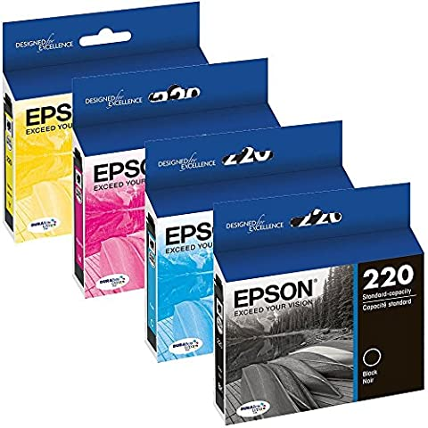 Genuine OEM Set Ultra Ink Cartridge Epson 220 WorkForce DuraBrite WF-2630WF WF-2650 WF-2660 - T220120 T220220 T220320 T220420 - Black Yield 175 & Color Yield 165 (Epson Printer Workforce 2650)