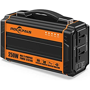 Rockpals 250-Watt Portable Generator Rechargeable Lithium Battery Pack Solar Generator with 110V AC Outlet, 12V Car, USB Output Off-grid Power Supply for ...