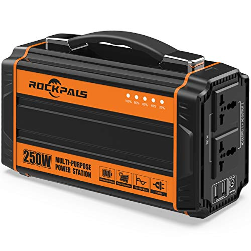 - Rockpals 250-Watt Portable Generator Rechargeable Lithium Battery Pack Solar Generator with 110V AC Outlet, 12V Car, USB Output Off-grid Power Supply for CPAP Backup Camping Emergency