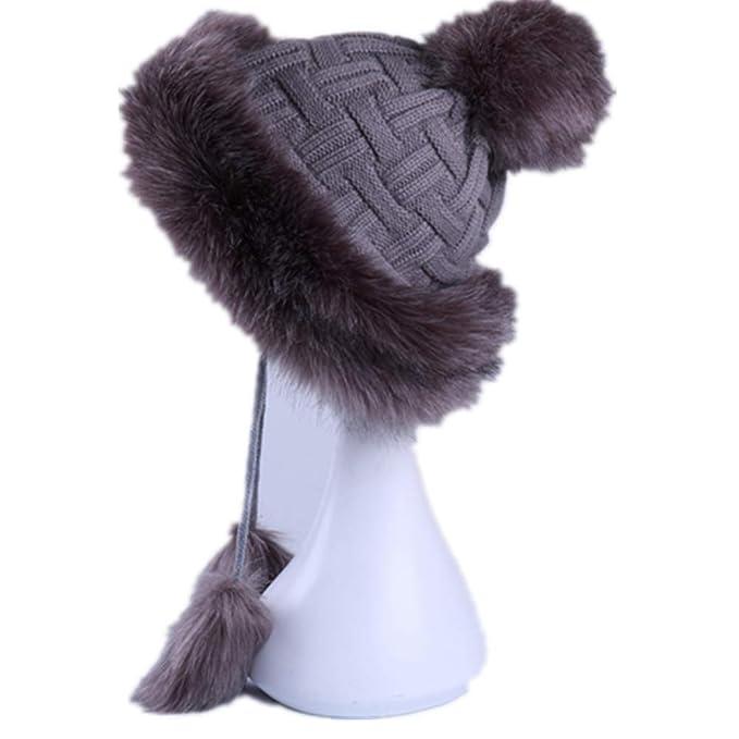 e96215ca27e4b7 Faux Fox Fur Russian Cossack Fluffy Pom Pom Bomber Hats Earflap Female  Winter Snow Ski Caps