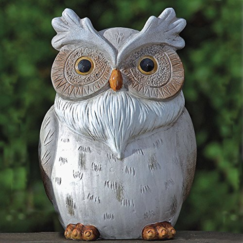 Whole House Worlds The Perching Garden Owl Figurine, Hand cast, Painted and Carved Details, Kiln Fired Pottery, Over 10 inches Tall, White and Natural Tone Glazes, ()