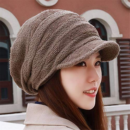 Gxinyanlong Women's Velvet, Thick Autumn and Winter hat, Knit hat, Large Size Cap, deep Khaki