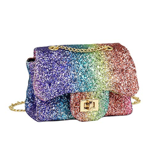 (CMK Trendy Kids Sparkly Glitter Toddler Kids Purse for Girls Quilted Little Girl Purses (Rainbow))
