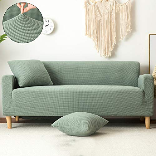 (HKYhomewhy Plain Elastic Stretch Sofa Covers Polyester Spandex Fabric Arm Couch Sofa Slipcover Furniture Cover Single/Two/Three/Four-Seater Furniture Protector-Green-Three seat190-230cm)