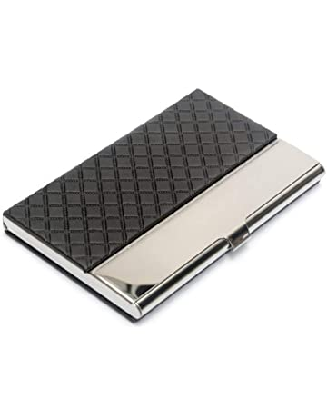 45337cf115c1 Pocket Business Card Case Stainless Steel Leather Embossed Credit ID Card  Holders Business Name Card Organiser