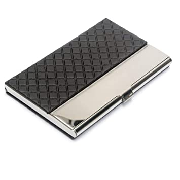 Pocket Business Card Case Stainless Steel Leather Embossed Credit Id Card Holders Business Name Card Organiser With Flannel Lined Black
